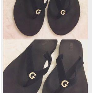 7415dab1c67b Guess Shoes - NWOT Guess Black Flip Flops w Crystal Rhinestones